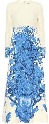 Valentino Printed wool and silk midi dress