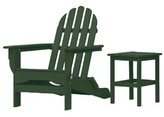 Adirondack Theta Plastic Folding Chair with Table August Grove Color: Forest Green