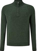 Gant Donegal Tweed Half-zip Jumper, Forest Green Melange