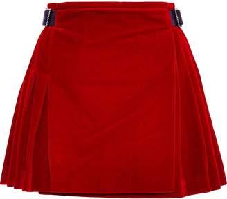 Christopher Kane Buckled Leather-trimmed Velvet Mini Skirt