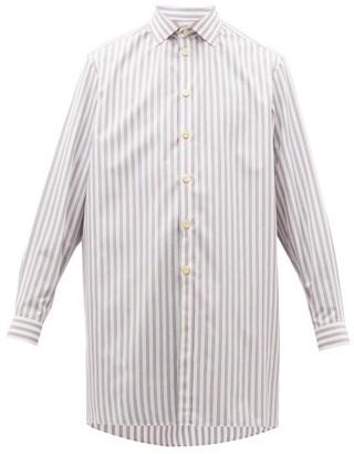 Gucci Longline Striped Cotton-poplin Shirt - Mens - Blue White