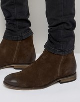 Asos Chelsea Boots In Brown Suede With Double Zip
