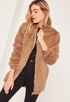 Brown Hooded Faux Fur Bomber Jacket, Beige