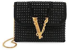 Versace Women's Virtus Embellished Suede Evening Bag