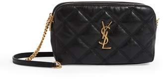 Saint Laurent Mini Leather Becky Double-Zip Bag
