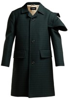 Raf Simons Single-breasted Checked Wool Coat - Womens - Dark Green