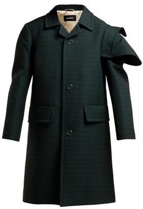 Raf Simons Single-breasted Checked Wool Coat - Dark Green