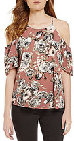 Moa Moa Floral-Printed High Neck Cold Shoulder Top