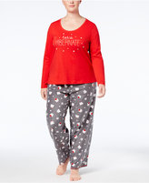 Jenni by Jennifer Moore Plus Size Fleece Top & Printed Pants Pajama Set, Created for Macy's