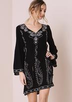 Missy Empire Yoko Black Embroided Sequin Detail Shift Dress