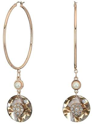 GUESS Hoop with Disc Charm Drop Earrings (Rose Gold/Grey) Earring