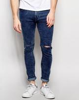 Pull&bear Super Skinny Jeans In Acid Wash Blue
