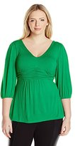 NY Collection Women's Plus-Size Solid V-Neck Shirred Waist Three-Quarter-Sleeve Pullover Top