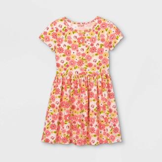 Cat & Jack Girls' Printed Knit Short Sleeve Dress - Cat & JackTM Pink/Coral