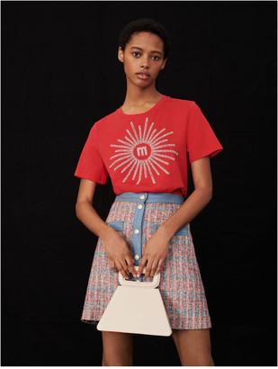 Maje T-shirt with rhinestones and beads