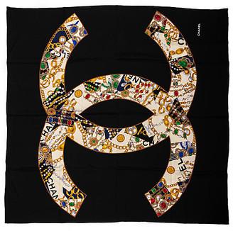"One Kings Lane Vintage Chanel Silk Jewels Large Scarf 52"" - Vintage Lux"