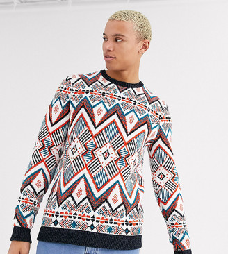 Asos DESIGN Tall knitted heavyweight sweater in multi color design