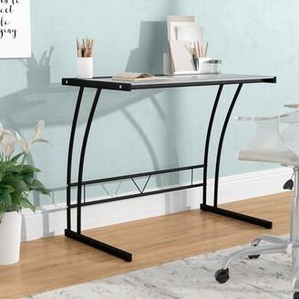 Symple Stuff Rosemarie Glass Desk Color: Black