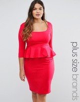 Goddiva Plus Pencil Dress With Peplum