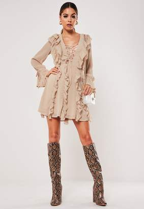 Missguided Stone Lace Up Plunge Ruffle Dress