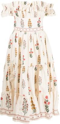 Agua Bendita Off-Shoulder Bouquet Dress