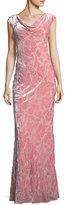 St. John Floral-Burnout Velvet Column Gown