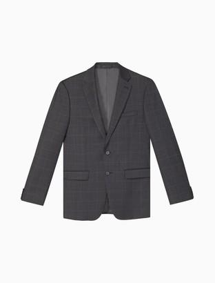 Calvin Klein Slim Fit Charcoal Blue Plaid Jacket