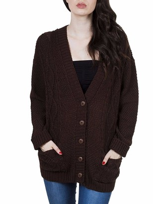 Girly Look New Ladies Womens Classic Long Sleeve Front Button Chunky Aran Knitted Grandad Cardigan Jumpers Sweater (S-M