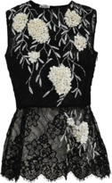 Oscar de la Renta Lace Embroidered Peplum Top