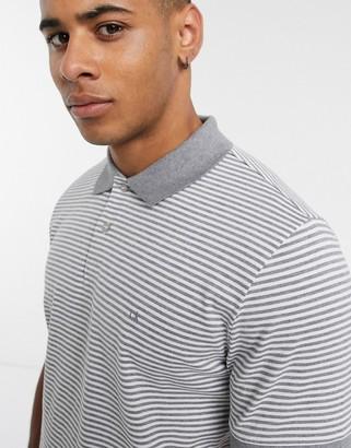 Calvin Klein stripe logo badge polo shirt-Grey