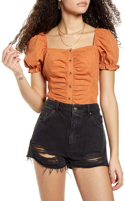 BP Swiss Dot Ruched Puff Sleeve Top