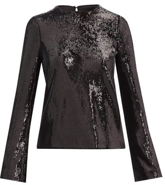 Galvan Clara Sequinned-satin Top - Black