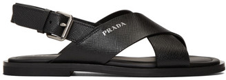 Prada Black Saffiano Sandals