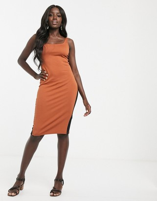 Pimkie ribbed midi jersey dress in brown