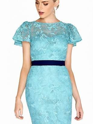 Paper Dolls Crochet Lace Fluted Sleeve Contrast Waist Dress