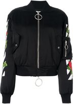 Off-White rose detail bomber jacket