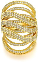 Redbarry Multilayer Encircle Cross 18k Gold Plated Round CZ Diamond Wide Band Cocktail Rings, Size 8