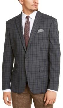 Bar III Men's Slim-Fit Stretch Gray Plaid Sport Coat, Created for Macy's