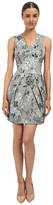 Vera Wang Printed Stretch Viscose V-Neck Sleeveless Dress w/ Tulip Skirt