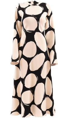 Marni Oversized Polka-Dot Crepe Midi Dress
