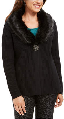 JM Collection Holiday Party Faux-Fur Collar & Brooch Cardigan