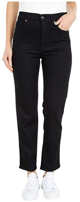 7 For All Mankind High-Waist Cropped Straight in No Fade Black (No Fade Black) Women's Jeans