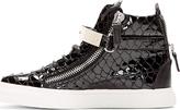 Giuseppe Zanotti SSENSE Exclusive Black Patent Croc-Embossed Atlantide Sneakers