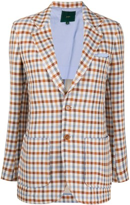 Jejia Long-Sleeved Gingham Check Blazer