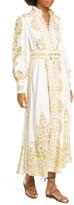 Zimmermann Super Eight Tubular Long Sleeve Linen Maxi Dress