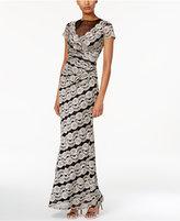 R & M Richards Floral Lace Illusion Gown