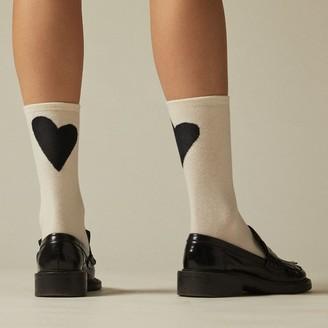 Love & Lore Hearts Crew Sock Crema 2-Pack