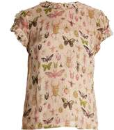 RED Valentino Bug-print ruffle-trimmed silk-chiffon top