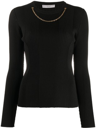 Givenchy Necklace-Detail Ribbed Jumper