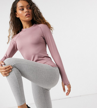 ASOS 4505 Petite icon long sleeve slim fit top in mauve